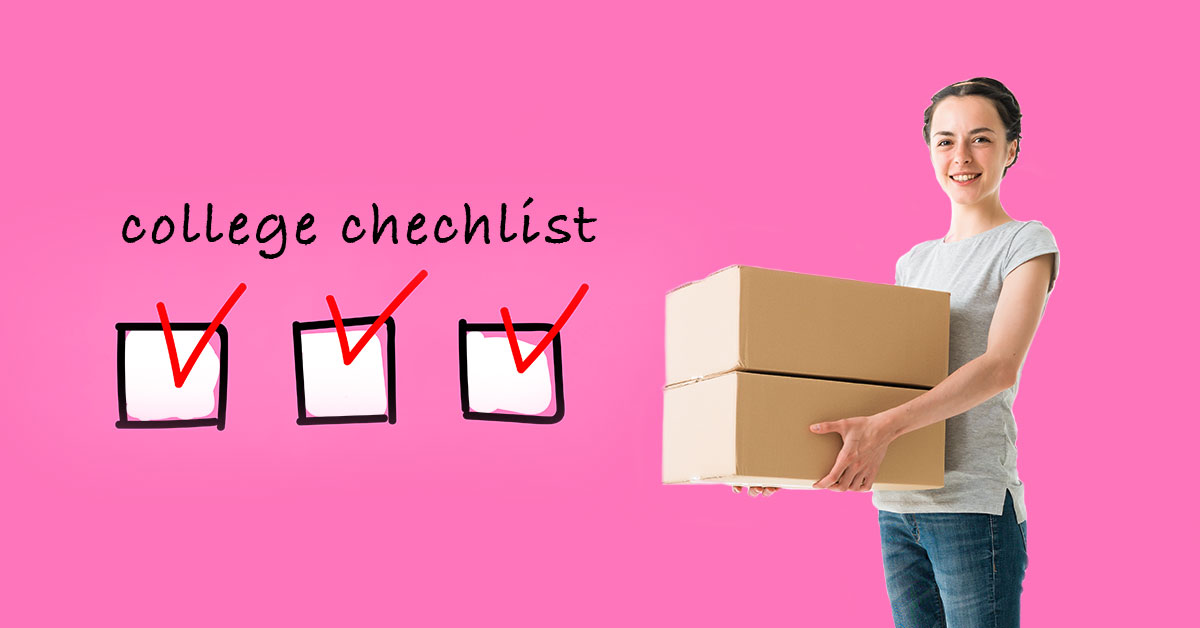 college checklist with a girl holding boxes